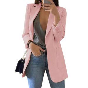 Mode Damen Revers Cardigan All-Match Temperament Blazer Schlanke Overalls Langarm Taschenknopf Blazer,Pink 3XL