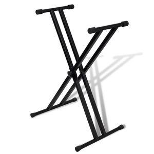 vidaXL Verstellbare Doppelversteifter Keyboardständer X-Rahmen