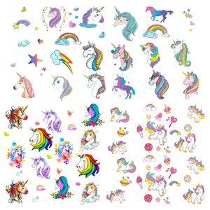 Oblique Unique Einhorn Kinder Tattoo Set 94 Stück Farbenfrohe Tattoos zum Spielen für Mädchen zum Kindergeburtstag