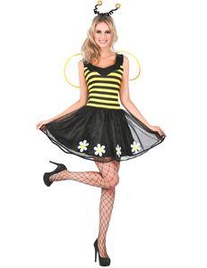 Süsses Bienen-Kleid Bienen-Kostüm für Damen schwarz-gelb