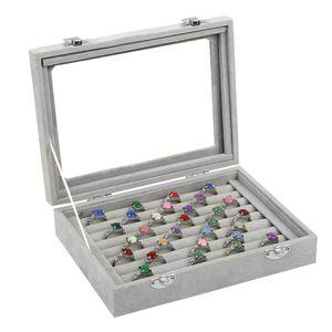 Ring Aufbewahrungsbox - Ringhalter Etui mit transparentem Deckel - Platz für bis zu 72 Ringe - Schmuckbox - Ring Display Box - 9 x Samtfutterrollen für Schmuck, Ringe, Ohrringe und mehr