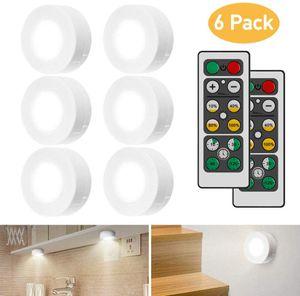 6 Stück Schrankleuchten LED mit Fernbedienung,LED Schranklicht für Schlafzimmer, Kleiderschrank, Kabinett, Küche - Weiß
