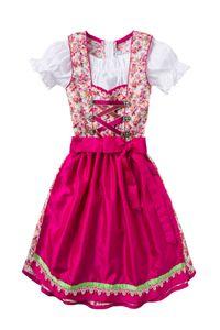 Isar Trachten Kinder Dirndl creme geblümt pink Franzi 006425 Größe: 146