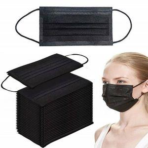 50x Stück medizinische OP Maske Mund Nasen Schutz - TYP IIR Atemschutzmaske3-lagiger Einwegmasken Atemschutz EN14683:2019 + AC:2019 SCHWARZ