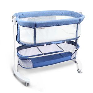 YOLEO Babybett Bewegliches Baby Beistellbett mit Matratze bis 20kg Bett im Bett mit Rollen für Baby bis 18 Monate Massivholzbett Kinderbett Buche(Blue)