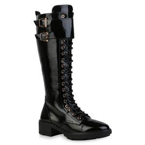 Mytrendshoe Damen Stiefel Leicht Gefütterte Schnürstiefel Schnallen Schuhe 835661, Farbe: Schwarz, Größe: 39