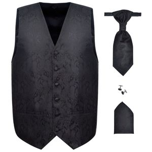vidaXL Herren Paisley-Hochzeitswesten-Set Größe 50 Schwarz