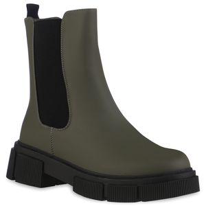VAN HILL Damen Klassische Stiefeletten Leicht Gefüttert Profil-Sohle Schuhe 837819, Farbe: Olivgrün, Größe: 39