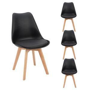 Futurefurniture.®4er Set Esszimmerstühle,esszimmerstühle,mit Massivholz Buche Bein-Schwarz