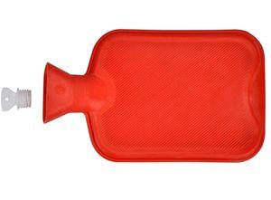 Wärmflasche aus Gummi 2 Liter | Wärmeflasche Wärmekissen Rot  | Wärme Flasche Bettflasche