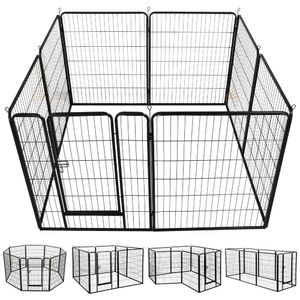Yaheetech Welpenauslauf  8 eckig je Panel 80 x 100 cm Welpenlaufstall   Freigehege Hunde Laufstall