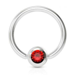 viva-adorno 1,6x12x5mm Universal Piercing Ring BCR Kristall Lippenring Klemmring Septumpiercing Brustpiercing Chirurgenstahl Z507,rot