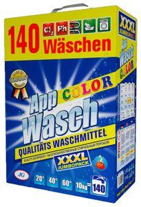 AppWasch® Color Waschmittel Pulver - 10 Kg., 1-er Pack XXXL (1 x 140 Waschladungen)