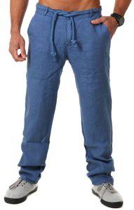 Young & Rich Herren Leinenhose Sommerhose 100% Leinen mit Kordelzug leichter Tragekomfort tapered legs T4080, Grösse:L, Farbe:Blau