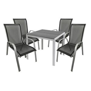 Gartengarnitur Sitzgarnitur 5-teilig 90x90cm Polywood Silber / Grau / Schwarz