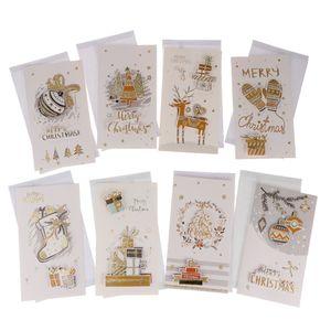 8pcs / set Frohe Weihnachten Grußkarten Winter Urlaub Weihnachtskarten Umschlag f Farbe F
