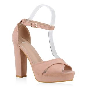 Mytrendshoe Damen Plateau Sandaletten Blockabsatz Party Schuhe High Heels 830733, Farbe: Rosa, Größe: 40