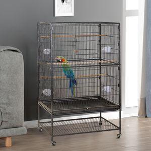 NAIZY Papageienkäfig Vogelvoliere Vogelkäfig Vogelhaus Käfig Voliere Vogel Tierkäfig mit Dach, Rollen Schwarz Metall