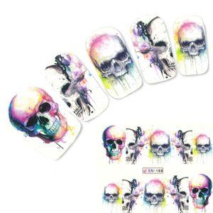 Nagel Sticker Tattoo Nail Art rauchender Totenkopf