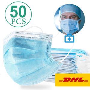 50x Einmal Mundschutz Maske,3-lagig, Frame Yi HIGH - END HOME@ Gesichtsmaske für Mund und Nase - Atemschutzmaske - Vliesstoff Masken    Bakterien Staub >=98%  Efferkt Der Filterung