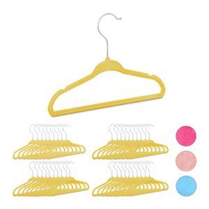 relaxdays 40 x Kleiderbügel Kinder, Kinderbügel Kunststoff, Hosenbügel Samt Babybügel gelb