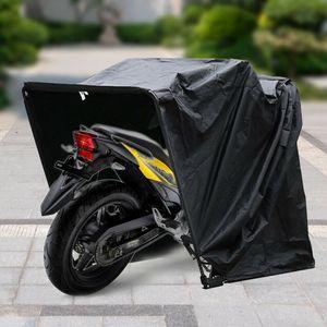 Motorradgarage Faltgarage Ganzgarage Motorrad Abdeckplane  Schutzhülle Wasserdicht Abdeckung  Faltzelt Motorbike Schwarz