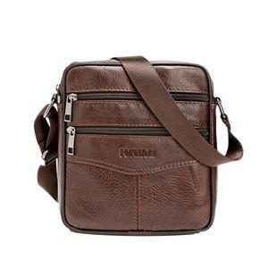 Herren Small Messenger Schulter Aktentasche Business-Taschen Echte Ledertaschen