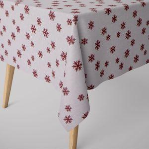 SCHÖNER LEBEN. Tischdecke Schneeflocken beidseitig weiß rot eckig in verschiedenen Größen, Tischdecken Größe:130x200cm