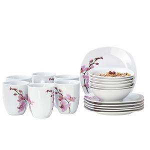 Frühstücksset 18-tlg. Kyoto Orchidee leicht eckig Porzellan für 6 Personen weiß mit Nachbildung