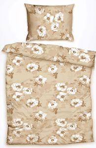 Baumwoll Bettwäsche, 135x200 + 80x80cm, beige, Blütenmuster, 100% Baumwolle