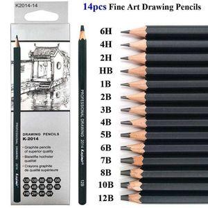 14 Stk Skizzierstifte Set Bleistifte Zeichnen Skizzieren Kohlestift Zeichenstift 12B 10B 8B 7B 6B 5B 4B 3B 2B B HB 2H 4H 6H
