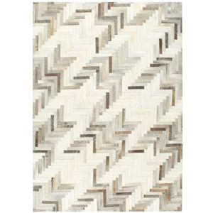 vidaXL Teppich Echtes Kuhfell Patchwork 160×230cm Grau/Weiß