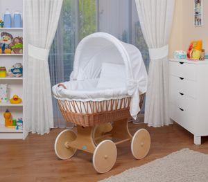WALDIN Baby Stubenwagen-Set mit Ausstattung,XXL,Bollerwagen,komplett,26 Modelle wählbar, Größe:Gestell/Räder natur, Farbe:weiß