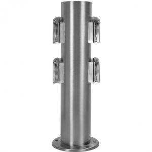 Hilight Edelstahl Steckdosensäule mit 4 Außensteckdosen Gartensteckdose