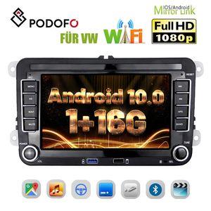 Podofo Car Player Autoradio 7 Zoll Android 10 Touchscreen Autoradio Multimedia Player GPS-Navigation Bluetooth 2USB PORT FM für VW Seat Skoda