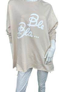 Oversize Sweatshirt  Longshirt Bla Bla , Größe:Einheitsgröße, Farbe:BEIGE