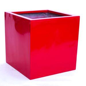 Blumenkübel Fiberglas quadratisch 48x48x48cm hochglanz rot.
