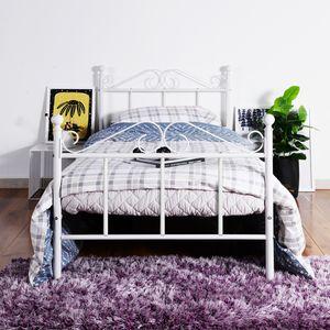 H.J WeDoo 90X190cm Einzelbett Bettgestell mit Lattenrost Metallbett Bettbezug,Weiß