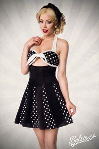 Belsira Godet-Kleid mit Schleife - schwarz/weiß, Größe:M