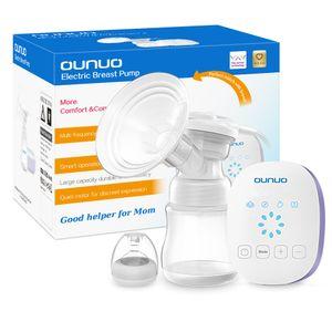 Elektrische Milchpumpe OUNUO Automatische Brustpumpe Einzel Muttermilch Abpumpen Stillpumpe mit Massage Speicherfunktion 6 Saugstufe LCD Touchscreen BPA Frei inkl. Schnuller