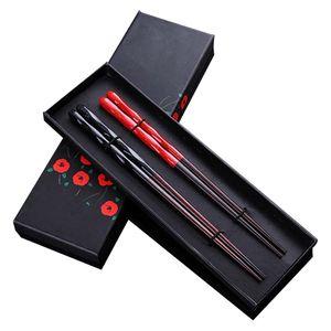 2 Paar Set Essstäbchen Natur Chopsticks aus umweltfreundlichem hölzernen in Edler Geschenkbox