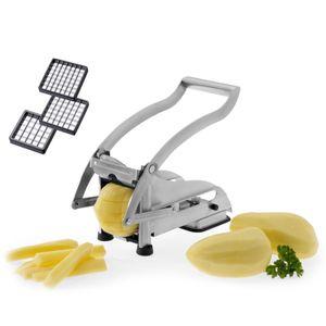 Westmark Pommes-/Fritten-/Kartoffel-Schneider, Gemüse-/Obststiftler mit drei Messereinsätzen/Stempeln, Rostfreie Edelstahl-Schneideinsätze, Pomfri-Perfect, Silber, 11812260