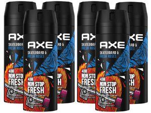 AXE Bodyspray Skateboard & Fresh Roses 6x 150ml Deo ohne Aluminium Deospray Deodorant Herren Männer Men Männerdeo
