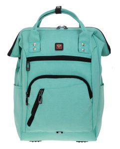 Rucksack Damen Freizeitrucksack mit Klappöffnung Elephant Finn Reiserucksack Tasche Laptopfach 12816 Mint Grün + Schlüßeletui