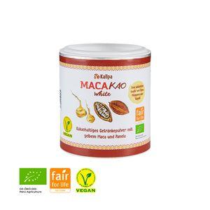 Macakao White 125g Premium-Trinkschokolade mit gelbem Maca (45%), Kakao und Panela. Natürlicher Energielieferant ohne Koffein oder Zusatzstoffe