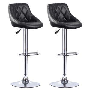 2* Barhocker Set Barstuhl Kunstleder Design Barstühle Bar Hocker Stühle Schwarz