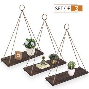 3PCS Holz Regal Wandregal mit Seil Hängeregal Schweberegale, Hängendes Regal Holz, Regal für Blumentopf Wohnaccessoires Decor Hängeregal Aufhängen