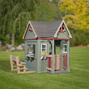 Backyard Discovery Spielhaus Victorian Inn aus Holz | Outdoor Kinderspielhaus für den Garten inklusive Zubehör | Gartenhaus für Kinder mit Fenstern in Grün