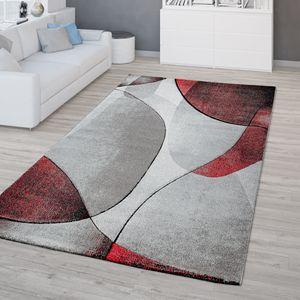 Wohnzimmer Teppich 3D Optik Kurzflor Geometrisches Design Modern In Rot Grau, Größe:80x150 cm
