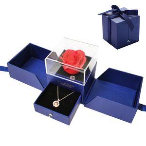 Rose Handgemachte konservierte Rose Schmuck Geschenkbox Nie verwelkte Rosen Ewige Blume für Liebhaber Geschenk für Sie AmValentinstag Muttertag Weihnachtstag